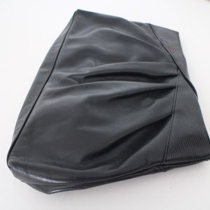 80s Black Leather Liz Claiborn Clutch